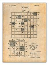 1954 Brunot Scrabble Game Patent Print Art Drawing Poster 18X24