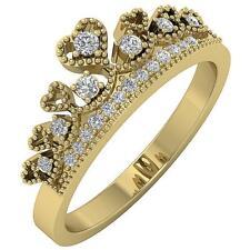 I1 G 0.25 Ct Round Cut Diamond Anniversary Crown Ring Prong Set 14K Yellow Gold