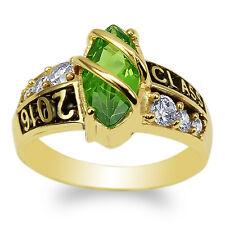JamesJenny 10K Yellow Gold Marquise Peridot CZ 2016 Graduation Ring Size 4-9