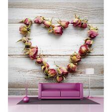 Papier peint géant coeur en fleurs4534