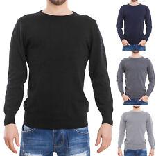 Maglione uomo pullover pull basic girocollo maniche lunghe casual nuovo XN1501