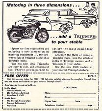 1960 TRIUMPH  MOTORCYCLE  ~  RARE ORIGINAL SMALLER PRINT AD