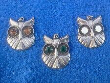 WISE POTATO CHIPS BIRD JEWELRY 3 OWL AUSTRIAN STONES PEWTER PENDANTS All New.