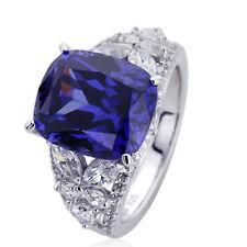 12mm Platinum Plated Silver 6.5ct Tanzanite CZ Wedding Engagement Ring set