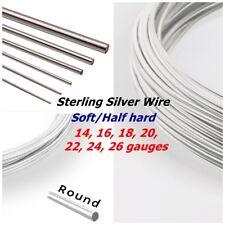 .925 Sterling Silver wire Soft Half Hard Round 14 16 18 20 22 24 26ga 0.5oz