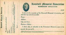 1919 Theodore Roosevelt Memorial Association Membership Application (1418)