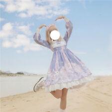 Japanese Lolita Dress  Summer Kawaii Bowknot Doll Collar Long Sleeve Skirt