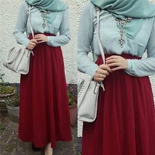 Muslim Women Chiffon High Waist Elastic Waist Skirt Soild Long Maxi Beach Dress