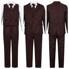 Boys Burgundy Suits Wedding Suit Pageboy Suits Kids Formal Suits 1-14 years 5pcs