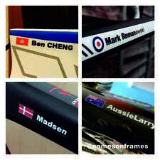 Personalised bike frame/helmet Name Stickers Decals + Flag* The BEST & ORIGINAL