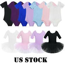 US Girls Ballet Short Sleeve Dance Dress Kids Gymanstics Leotard Unitard Costume