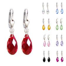 925 Silber Ohrringe mit Swarovski® Kristall Briolette Ohrhänger in vielen Farben