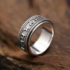 925 Sterling Silver Spinning Tibetan Mantra Om Mani Padme Hum Ring Men A3390