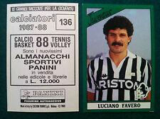 CALCIATORI 1987-88 87-1988 n 136 JUVENTUS FAVERO - Figurine Panini con velina