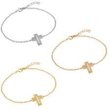 Sterling Silver Charm Bracelet w/ CZ Stones Open Cross
