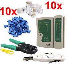 RJ45 Ethernet Network Cable Cat5e 6 LAN Tester Punch Down Tool Crimping Kit Lot