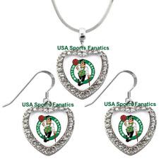 Boston Celtics 925 Necklace / Earrings or Set Team Heart With Rhinestones