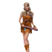 6 Pieces Women's Suede Indian Costume Native America Pocahontas Fancy Dress