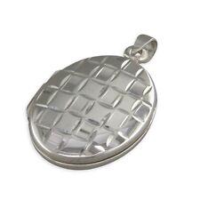 Ovale d'argento semplice con quadrati taglio Diamante Medaglione