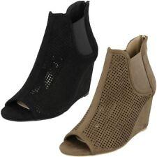 Ladies Spot On High Wedge Peeptoe 'Ankle Boots'