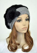 JM39 New Faux Rabbit Fur & Wool Winter Hat Beanie Cap Cute Fur Flower Women's
