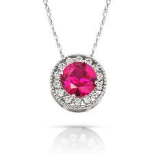 1.90Ct White Sapphire & Ruby Round Halo Charm Pendant 14K W Gold w/ Chain