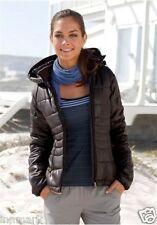 848 Spring Women's Warm Quilted Coat Hooded Zip Pocket Hips Brown Jacket Medium