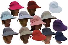 Ladies Women Fashion Large Visor Wide Brim Sun UV Protect 100% Cotton Cover Hat