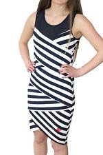 DESIGUAL AUSTRIA DRESS S-XXL 10-18 RRP £74 BLACK / BLUE & WHITE STRIPED BODYCON