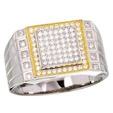 Hombres Plata de ley oro amarillo y BLANCO CHAPADO anillo con / 96 micropavé
