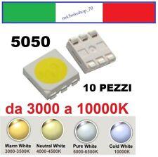 chip led SMD 5050 alta luminosità bianco da 2850 a 10000K confezioni da 10 pezzi
