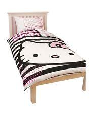 Hello Kitty Black And White Stripes Duvet Cover Girls Soft Bedding Cover Set