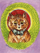 REPRO DECO AFFICHE LOUIS WILLIAM WAIN CHAT CAT COLORS SUR PANNEAU MURAL BOIS HDF
