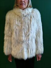Silver Fox Lined Fur Jacket Stand up Collar Matural Shoulder Vintage Coat White