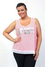 Captive t-shirt top plus size 18/20 22/24 26/28 neon stripe 'so chic' lace edge