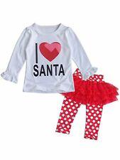 Bilo Baby Girls I Love Santa Top and Tutu Legging Holiday Clothing Set