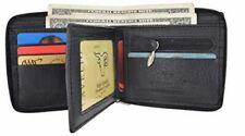 Zip-Around Men's Genuine Leather Credit Card ID Holder Bifold Zippered Wallet