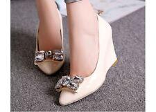 Décollte Zapatos zapatos de salón elegantes cómodo mujer alta de cuña 8 cm beige
