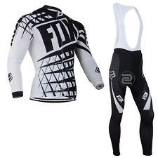 Az052 Thermal Fleece men's long sleeve cycling jersey set Bib pants Winter Fit