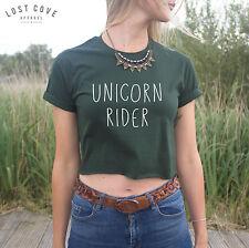 * Unicorn Rider Crop Top Swag Fresh Funny Fangirl Cute *