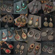 Vintage Ethnic Golden Leaf Tassel Indian Hippie Dangle Drop Party Earrings