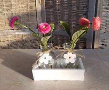 Frühling Deko Holz Box Mit 2 Glasvasen / Flaschen Tischdeko Tablett Schale