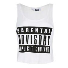Parental Advisory - Ladies Womens Vest Top Tee - White