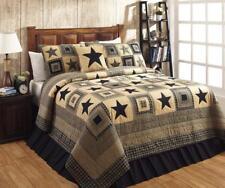 5PC COLONIAL STAR  BLACK & TAN RUSTIC PRIMITIVE QUILT SHAMS SKIRT PILLOW BED SET