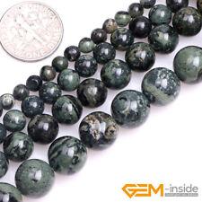 "Natural Dark Blue Rhyolite Kambaba Jasper Gemstone Round Spacer Loose Beads 15"""