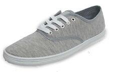 Mens Light Grey Lace Up Flat Canvas Plimsolls Sport Trainers Pumps UK Sizes 7-12