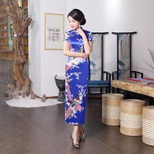 Blue,Chinese women's Style Evening silk/satin long Dress/Cheong-sam 6 -18