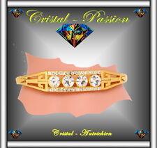 Jonc Bangle Bracelet cristal autrichien 4 Diams doré à l'or fin et zirconium