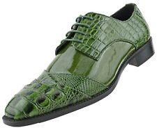 Mens Croco Folded Cap Toe Oxford, Alligator Print EEL Skin Trim, Lace Tie