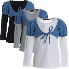 Mädchen Bluse Langarm Shirt Longsleeve Sweatshirt Stretch Angebot Restposten